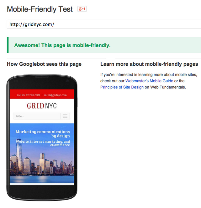 google's mobile-friendly test tool screen